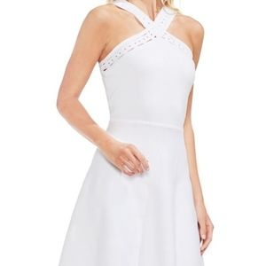 Vince camuto white cross over fit & flare dress